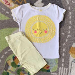 Carters Summer Pajama Set Yellow Sunshine Girls 2T